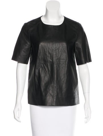 J Brand Boxy Leather Top w/ Tags None
