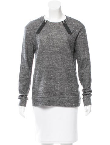 J Brand Oversize Vegan Leather-Trimmed Sweater None