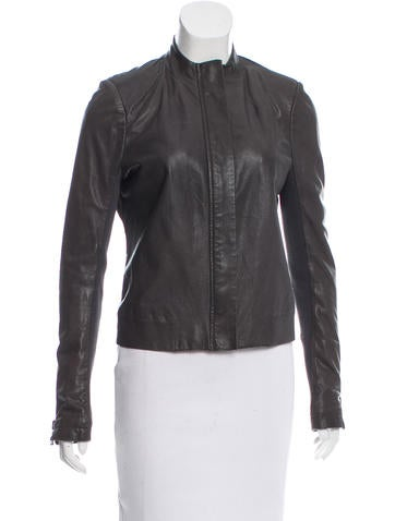 J Brand Leather Rib Knit-Trimmed Jacket None