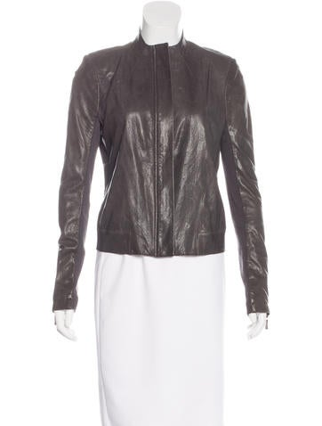 J Brand Long Sleeve Leather Jacket None