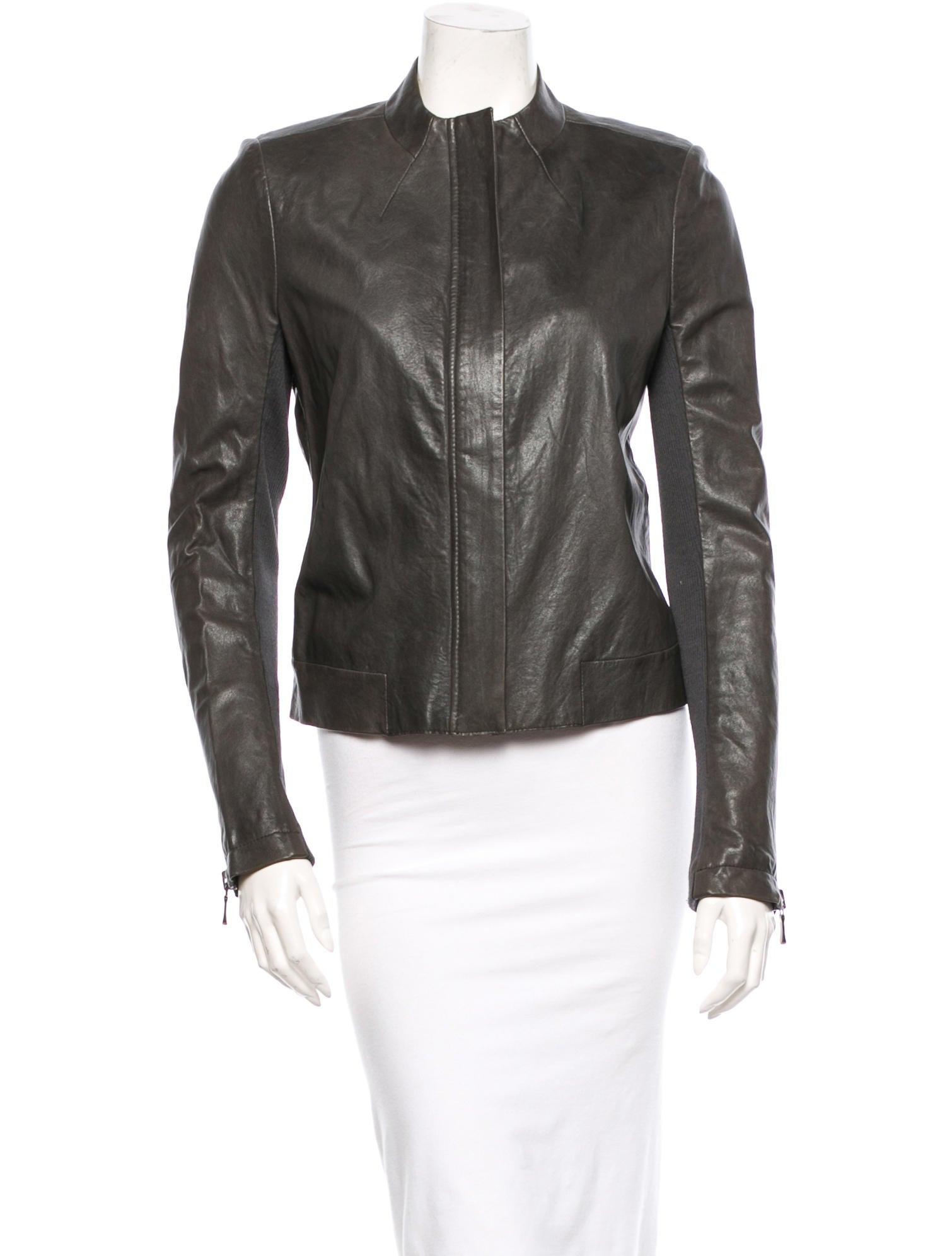 Branded leather jacket