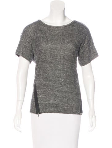 J Brand Vegan Leather-Accented Knit Top None