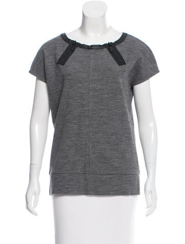 J Brand Leather-Trimmed Knit Top None