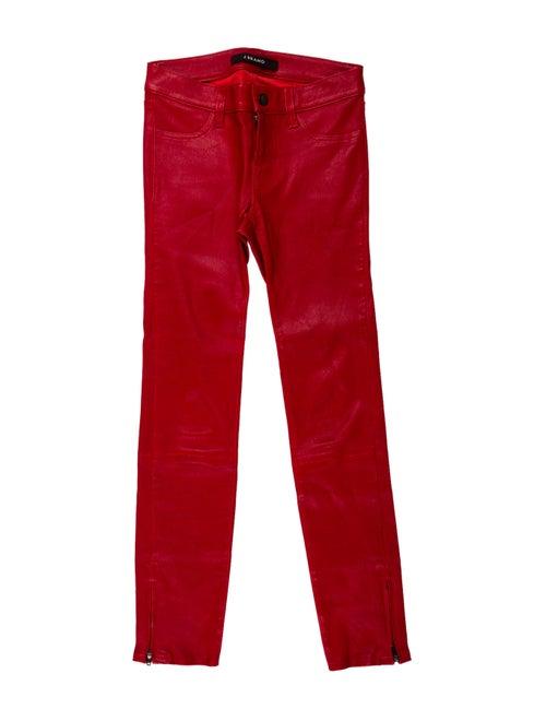 J Brand Lamb Leather Skinny Leg Pants Red