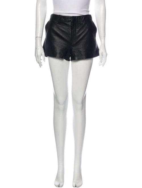 J Brand Lamb Leather Mini Shorts Black