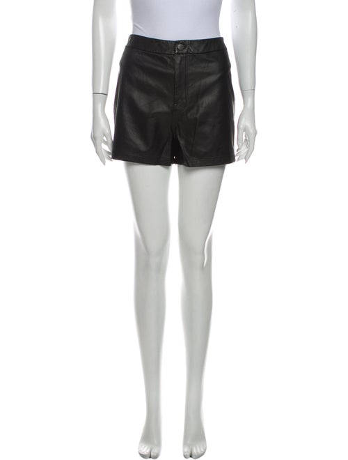 J Brand Leather Mini Shorts Black