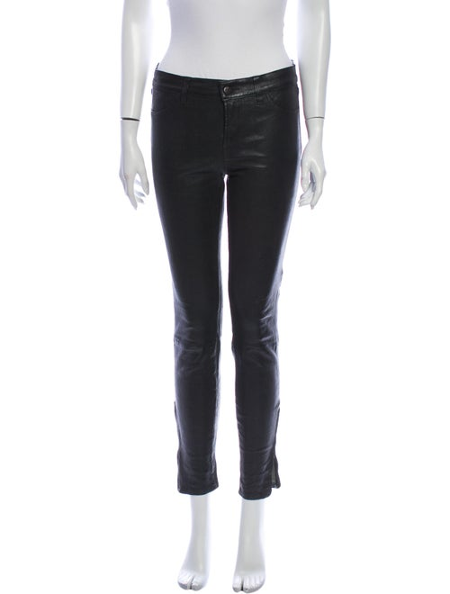 J Brand Leather Skinny Leg Pants Black