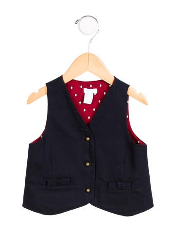 Jacadi Girls' Bow-Accented Button-Up Vest None