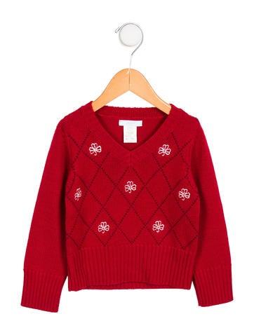 Jacadi Girls' Wool Argyle Sweater None
