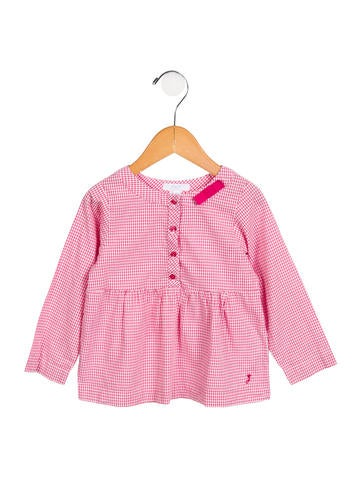 Jacadi Girls' Grid Bow-Accented Top None