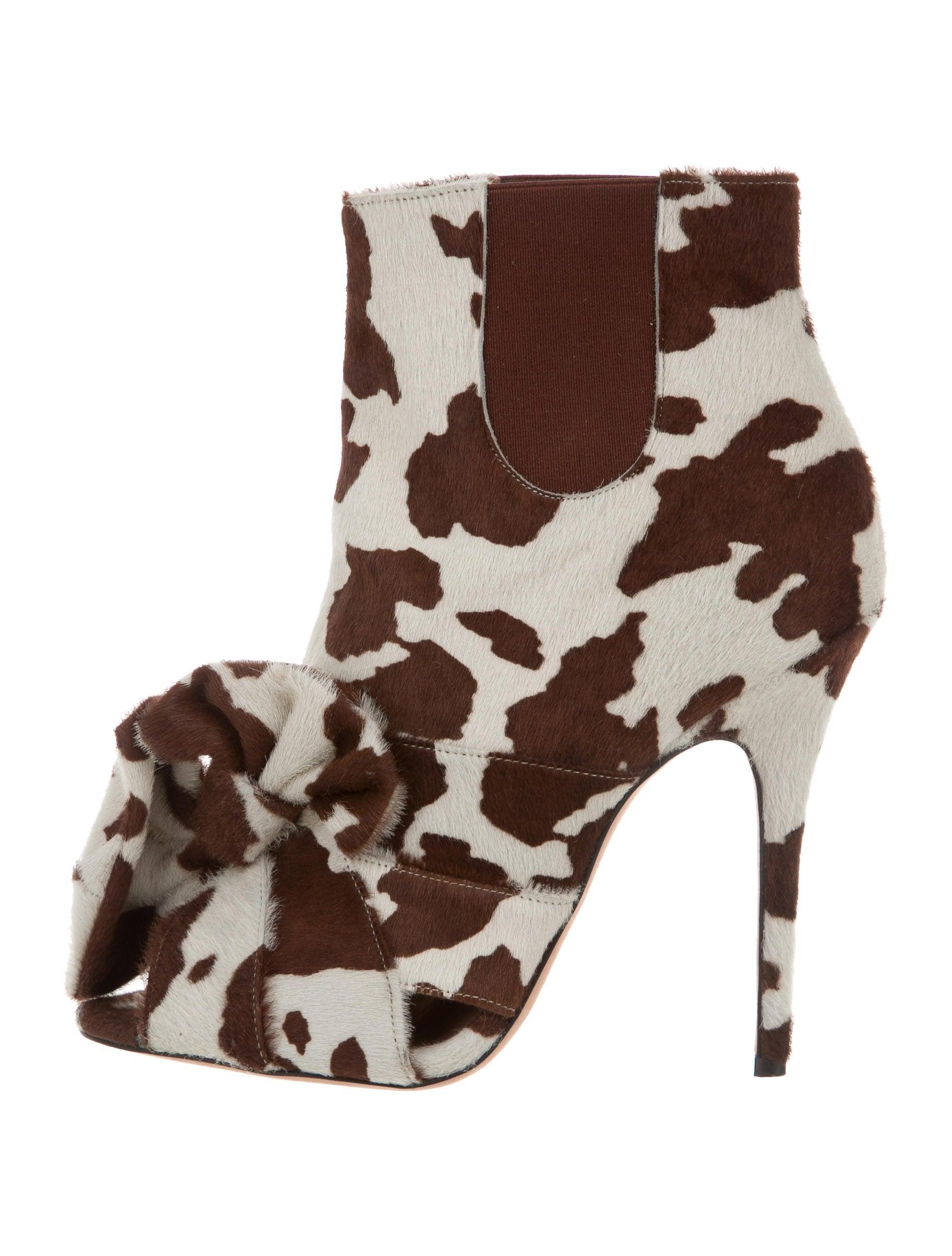 top quality Jean-Michel Cazabat for Sophie Theallet Ponyhair Peep-Toe Ankle Boots 100% original sale online visa payment VDRAGSjYQH
