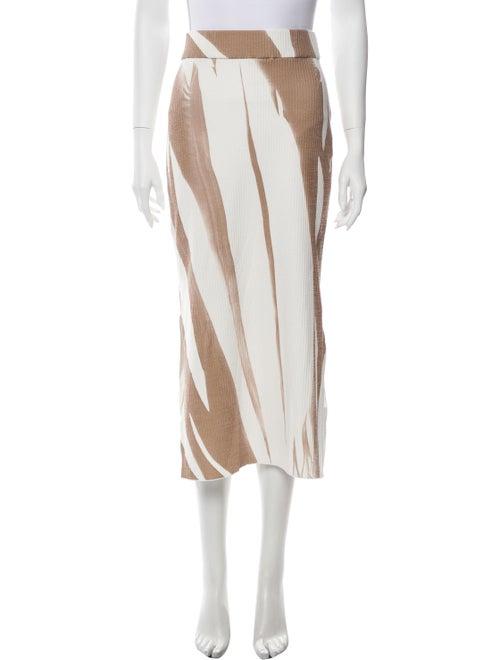 Jeffrey Dodd Striped Midi Length Skirt Brown - image 1