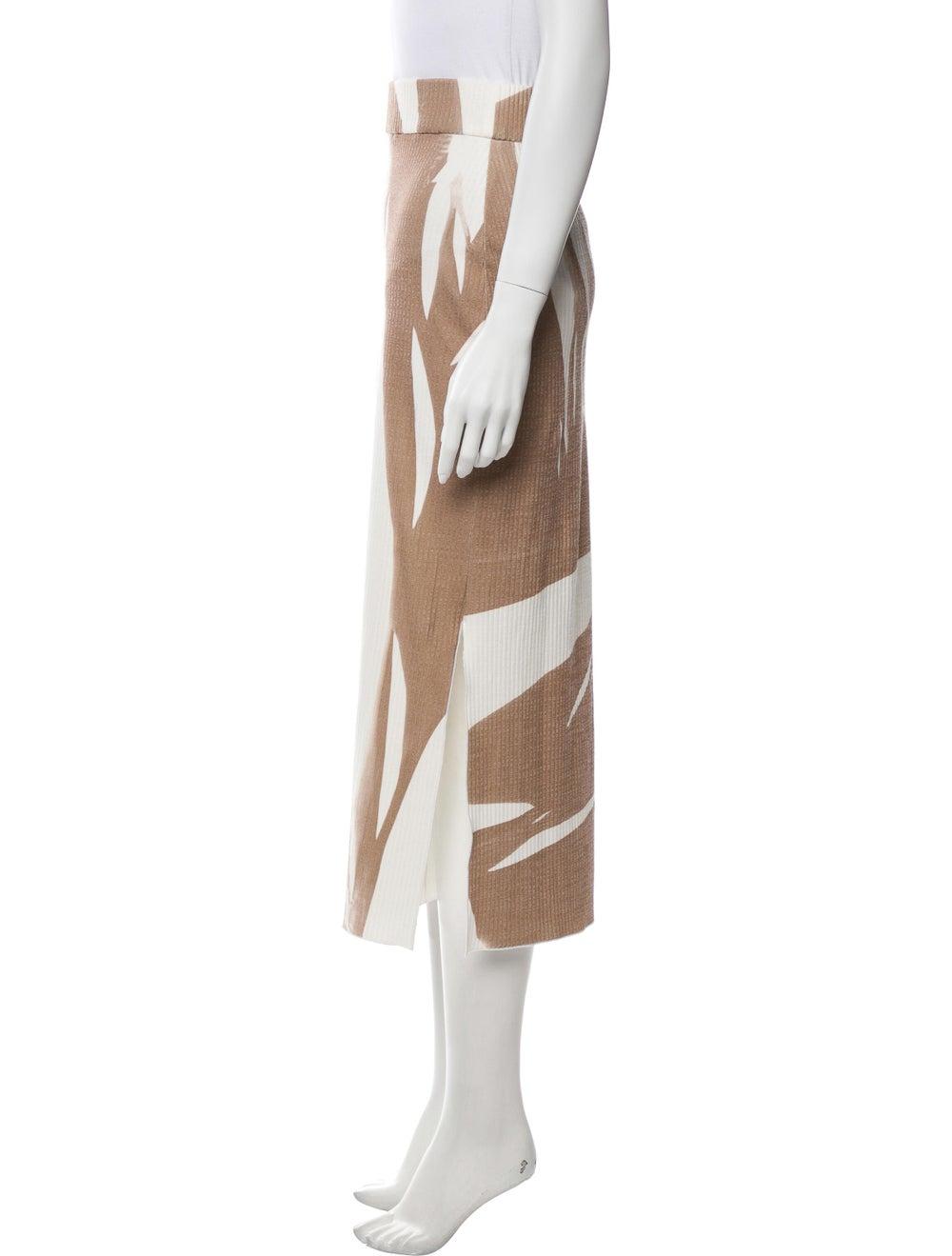 Jeffrey Dodd Striped Midi Length Skirt Brown - image 2