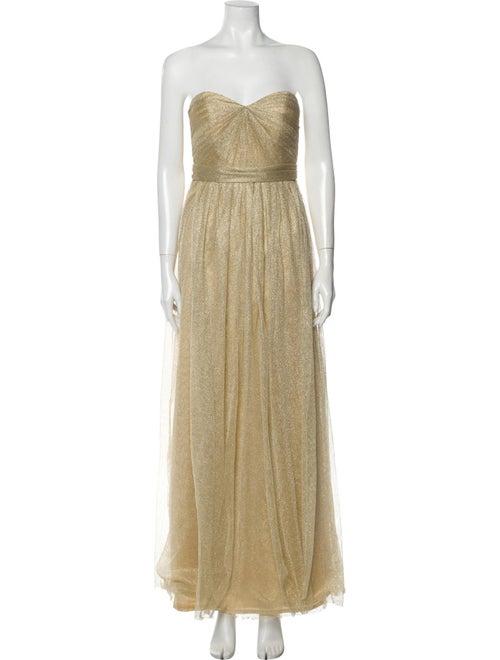 Jenny Yoo Strapless Long Dress Gold