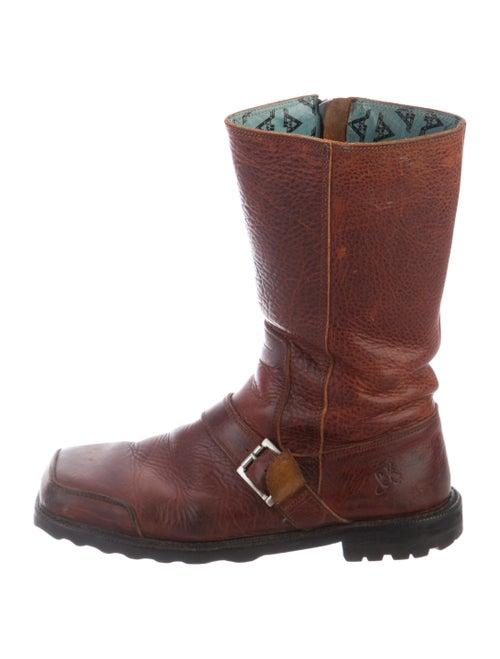 John Fluevog Leather Moto Boots Brown