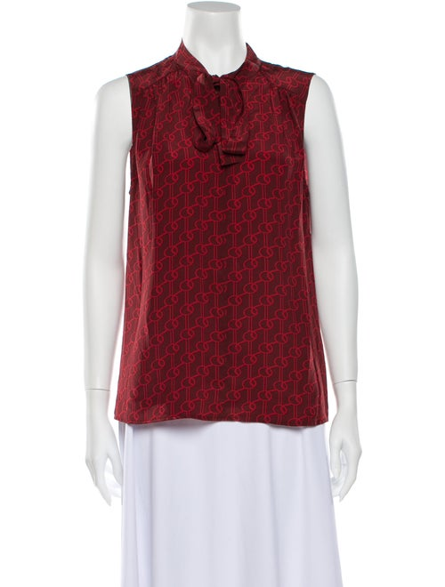 Judith & Charles Printed Tie Neck Blouse Red