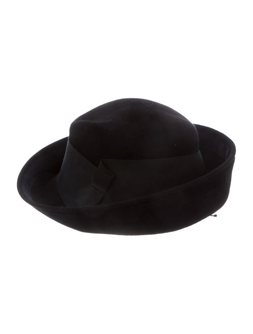 Jennifer Ouellette Wool Wide Brim Fedora Hat Black