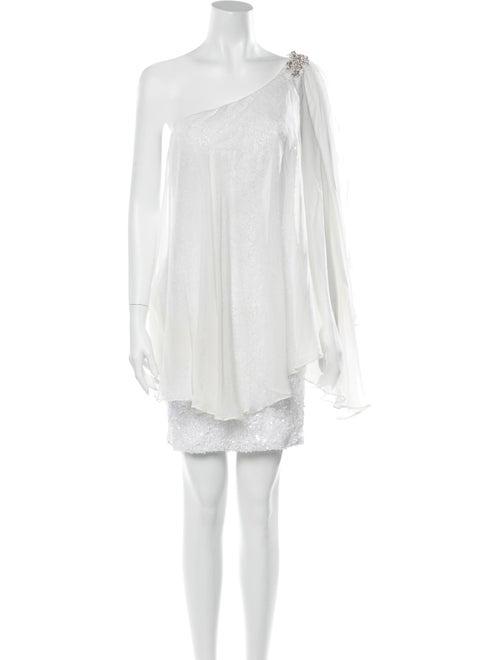 Jovani Silk Mini Dress White