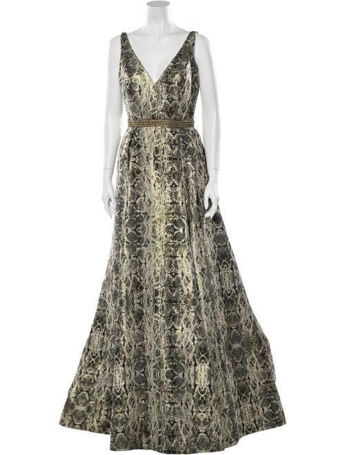 Jovani Printed Long Dress Gold