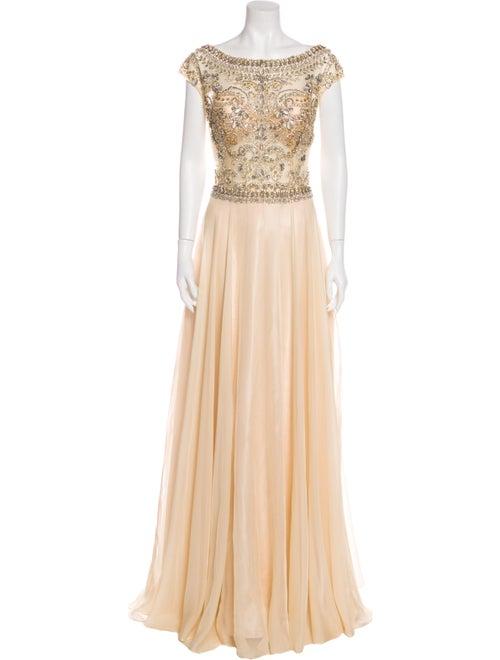 Jovani Bateau Neckline Long Dress Gold