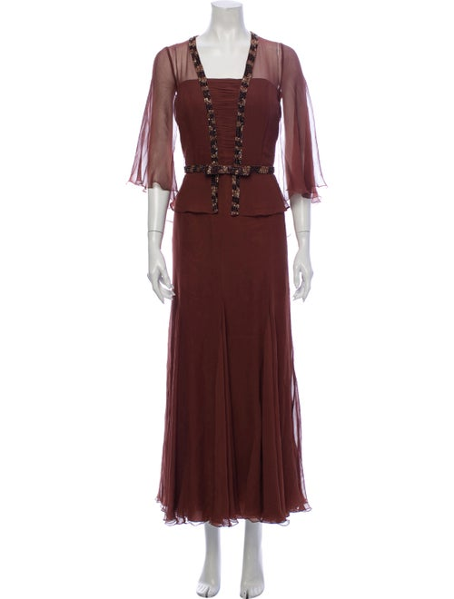 Jovani Silk Long Dress Brown