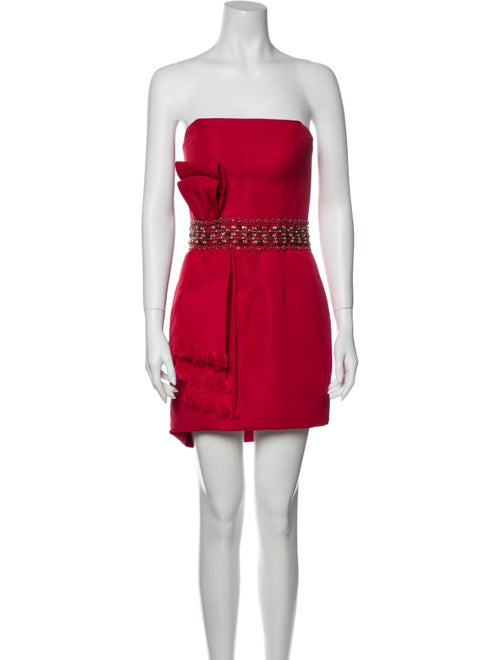 Jovani Strapless Mini Dress Red