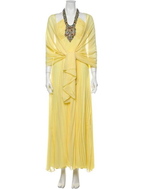 Jovani Silk Long Dress Yellow