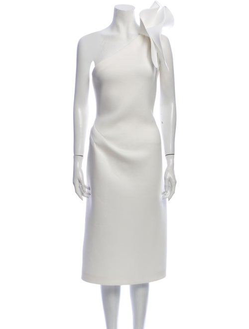Jovani One-Shoulder Midi Length Dress White