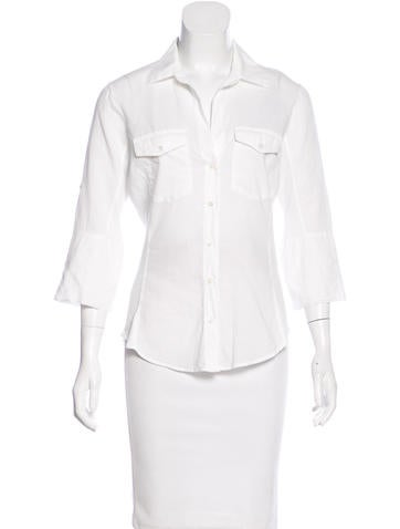 James Perse Three-Quarter Sleeve Button-Up Top None