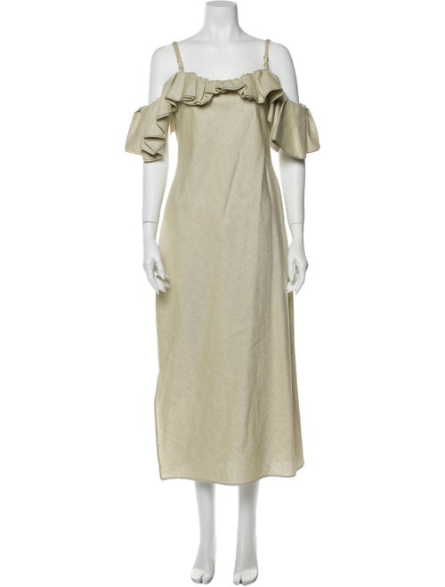 Jacquemus Square Neckline Midi Length Dress Green