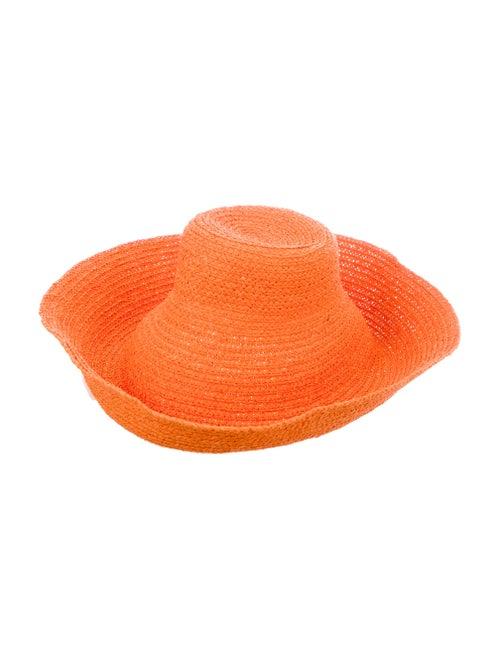 Jacquemus Raffia Wide Brim Hat Orange