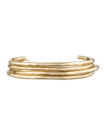 Set of 14K Gold Open Bangle Bracelets