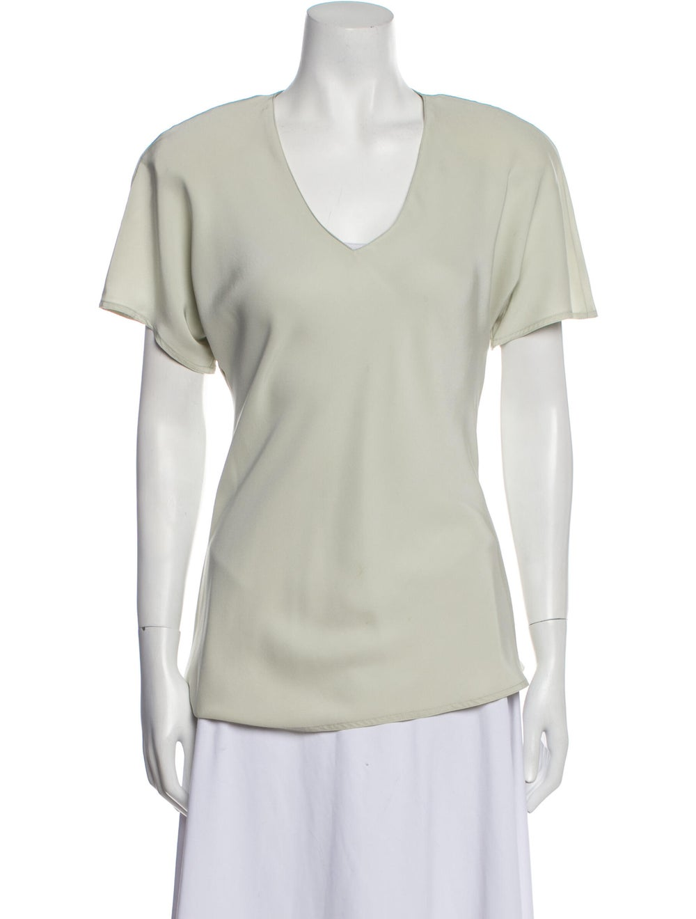 Jackie Rogers Silk V-Neck T-Shirt Green - image 1