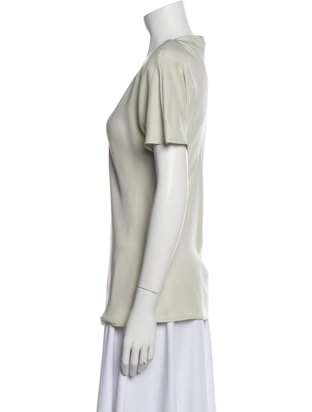 Jackie Rogers Silk V-Neck T-Shirt Green - image 2