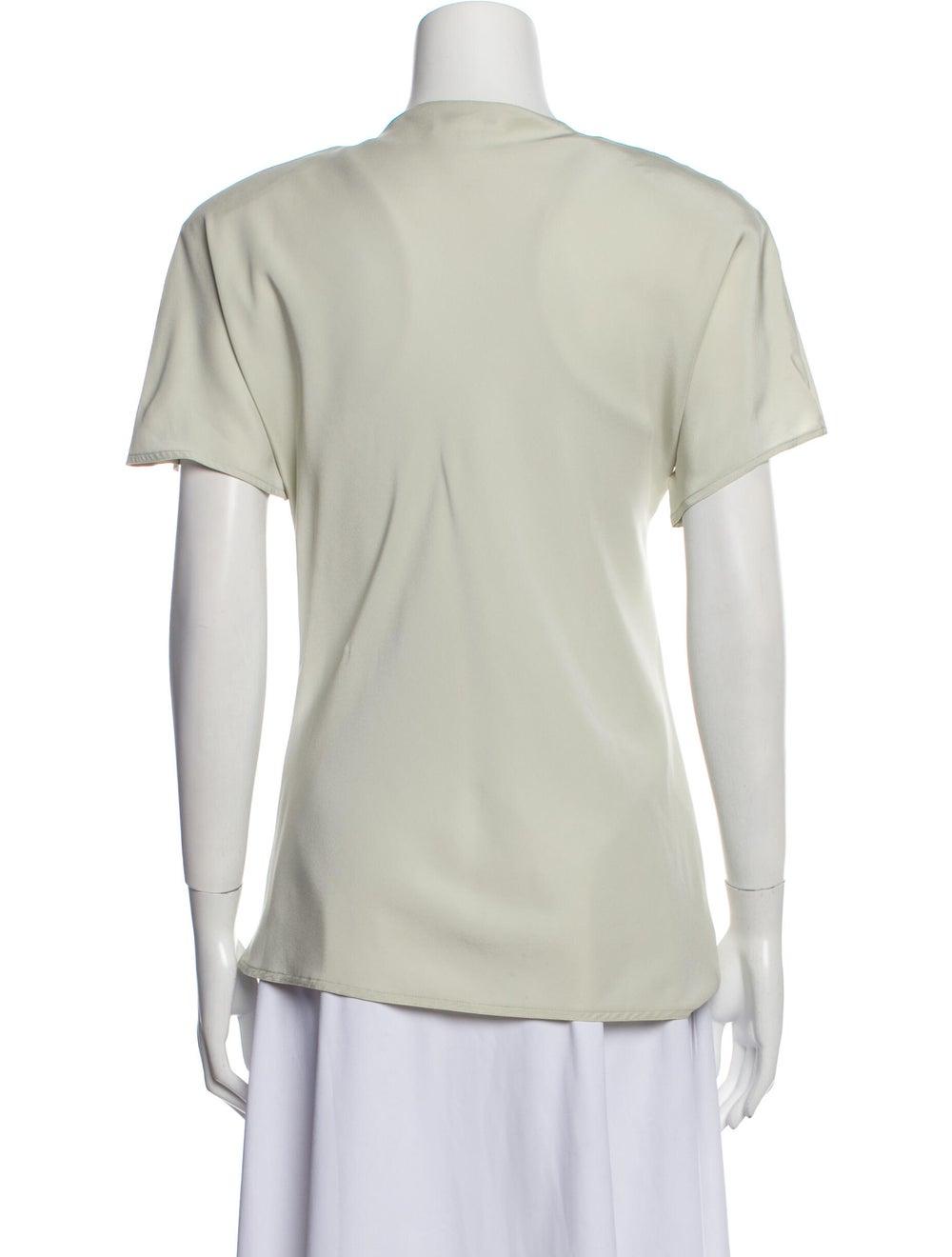 Jackie Rogers Silk V-Neck T-Shirt Green - image 3