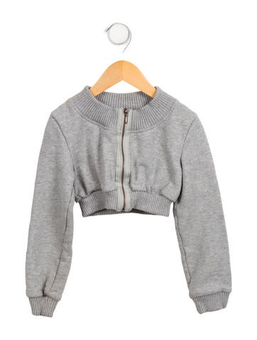 Junior Gaultier Girls' Cropped Zip-Up Sweatshirt None
