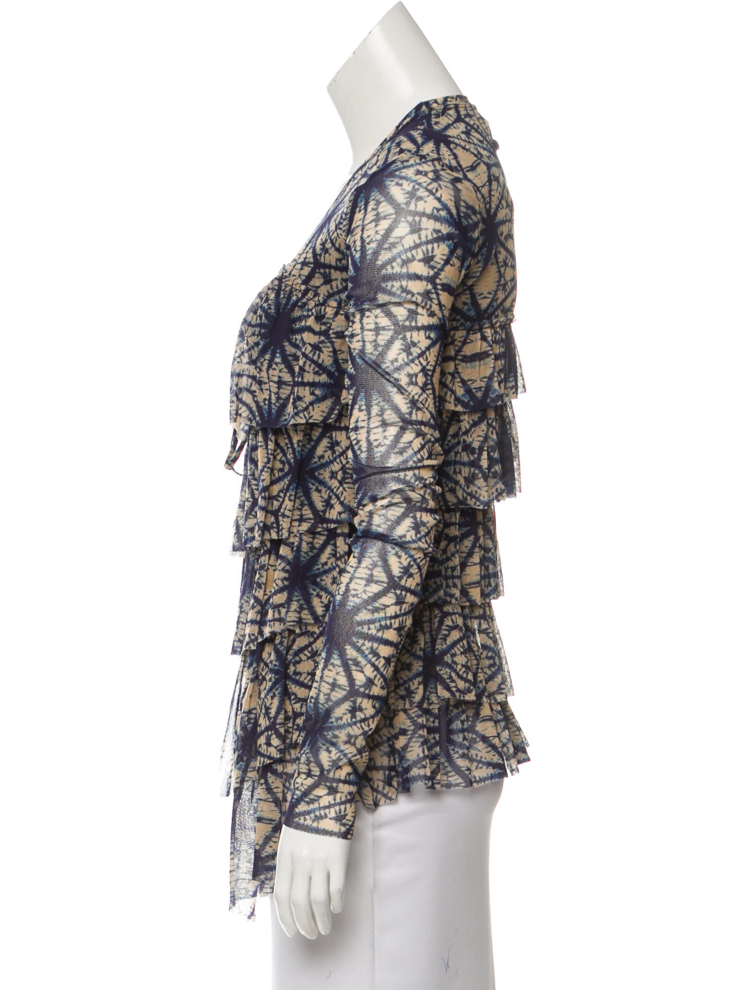 Jean paul gaultier soleil abstract print mesh cardigan for Jean paul gaultier clothing