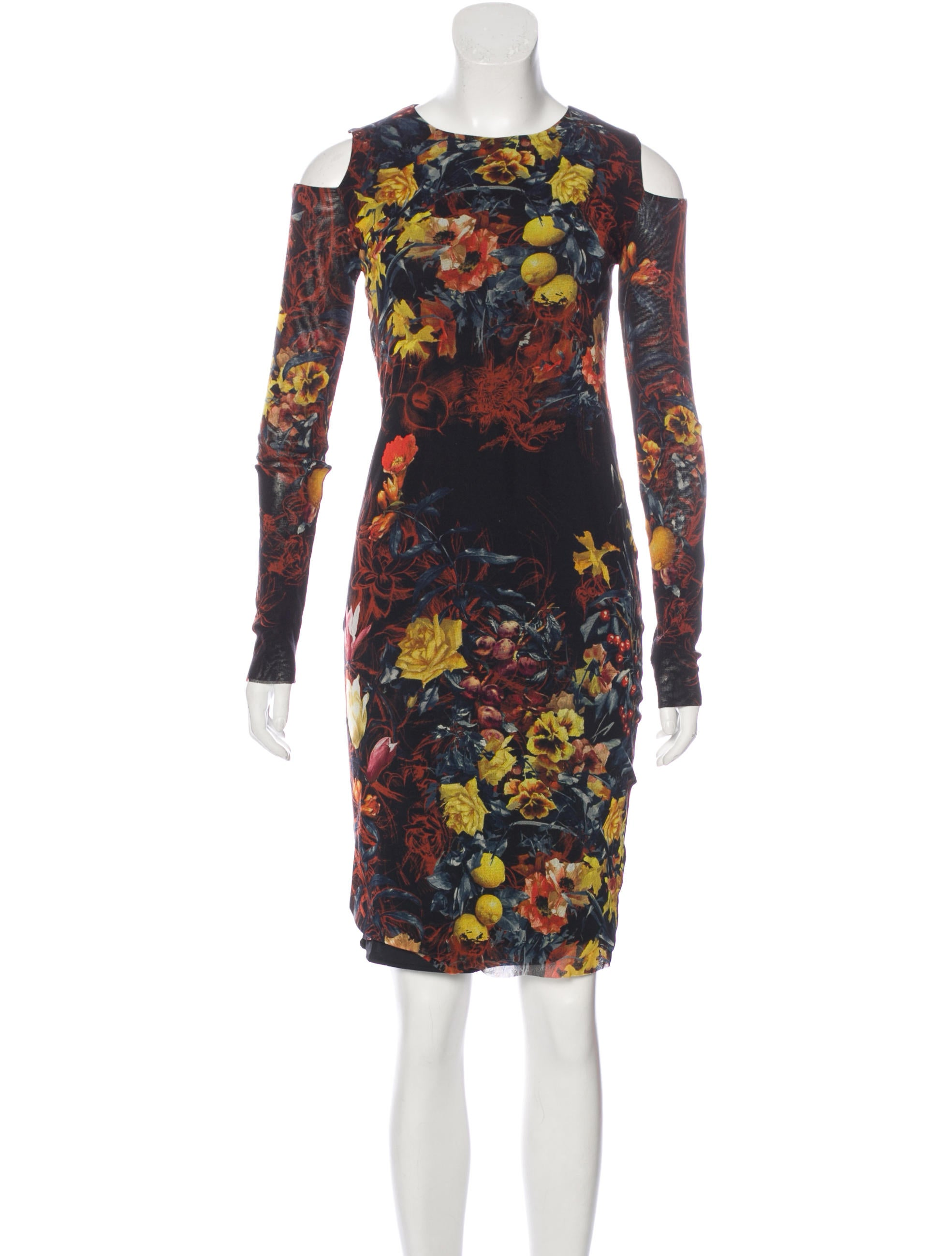 Jean paul gaultier soleil cold shoulder floral print dress for Jean paul gaultier clothing