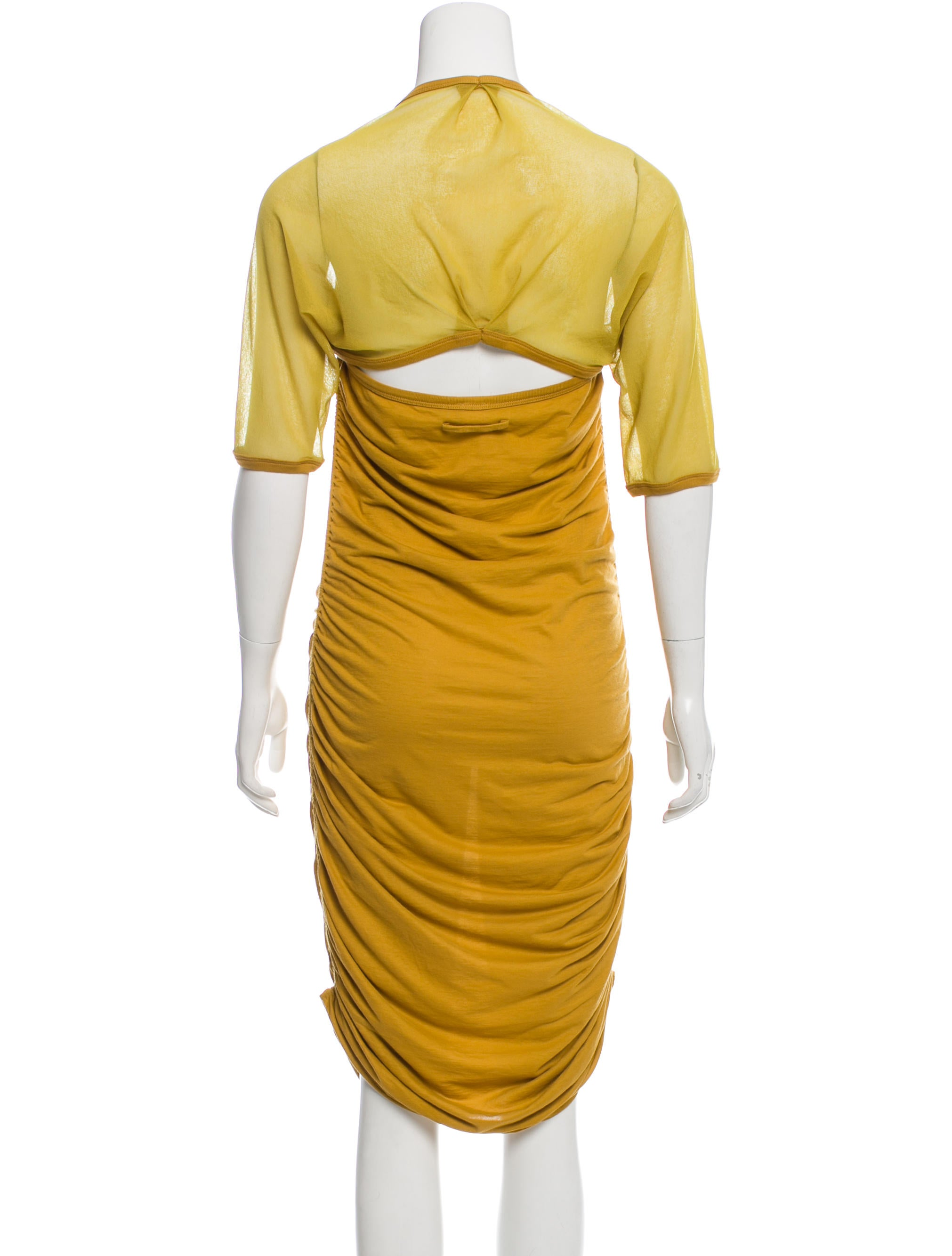 Jean paul gaultier soleil gathered midi dress clothing for Jean paul gaultier clothing