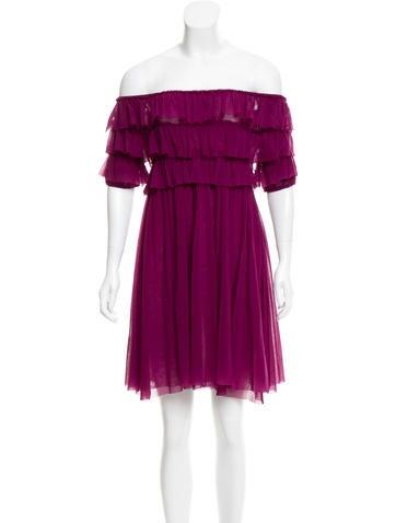Jean Paul Gaultier Soleil Off-The-Shoulder Mesh Mini Dress None