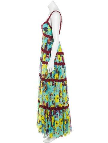 Lace-Trimmed Floral Dress