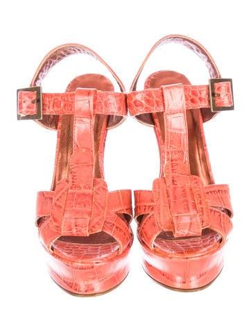 Embossed Wedge Sandals