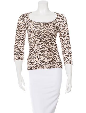 Just Cavalli Leopard Print Three-Quarter Sleeve Top
