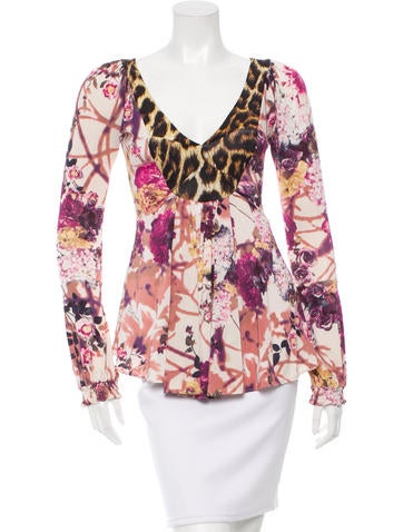 Just Cavalli Long Sleeve V-Neck Top