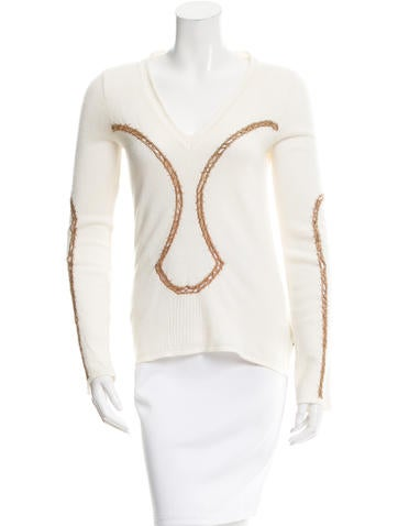Just Cavalli V-Neck Open Knit Top None