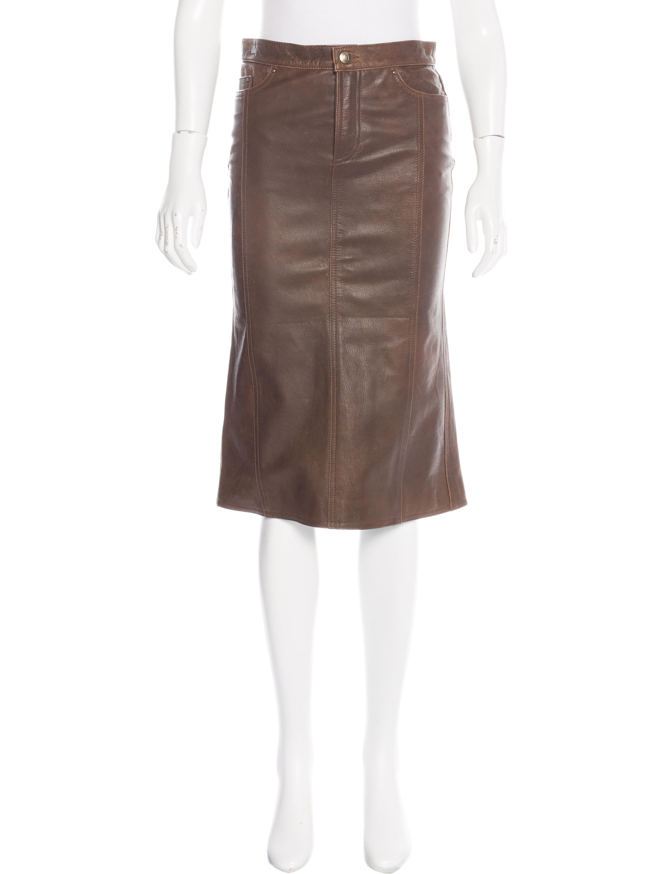 Just Cavalli Leather Knee-Length Skirt - Clothing - WJU26382 | The RealReal