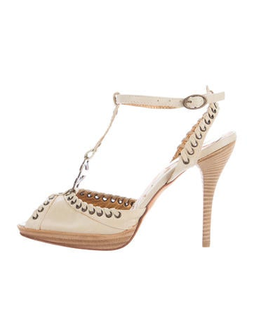 Just Cavalli Leather Embellished Sandals