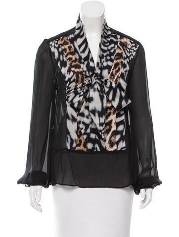 Contrast Print Sheer Blouse