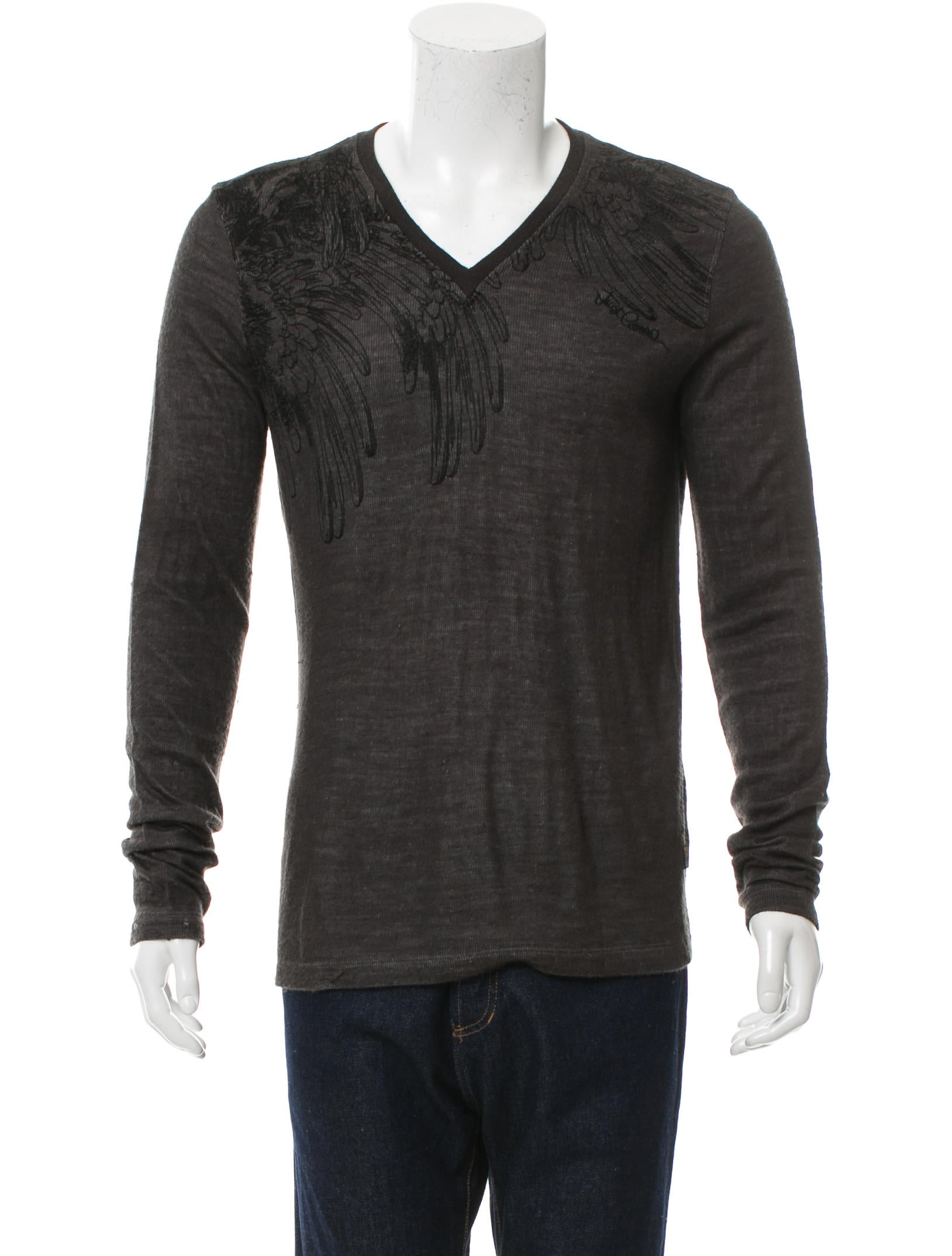 just cavalli embroidered v neck sweater clothing wju26913 the realreal. Black Bedroom Furniture Sets. Home Design Ideas