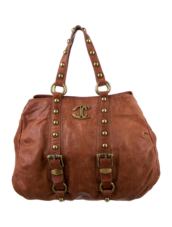 Just Cavalli Studded Leather Shoulder Bag Handbags